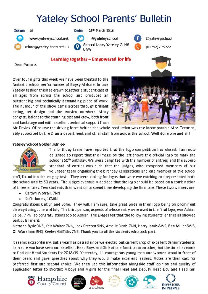 thumbnail of Yateley School Newsletter 16 23-03-18