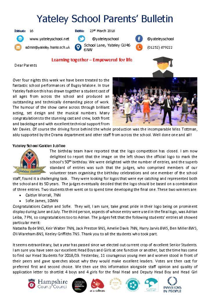 thumbnail of Yateley School Newsletter 16 23-03-18