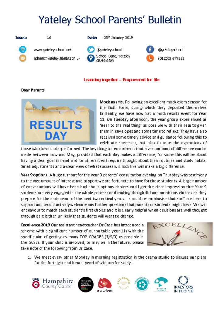 thumbnail of Yateley School Newsletter 16 25-01-19