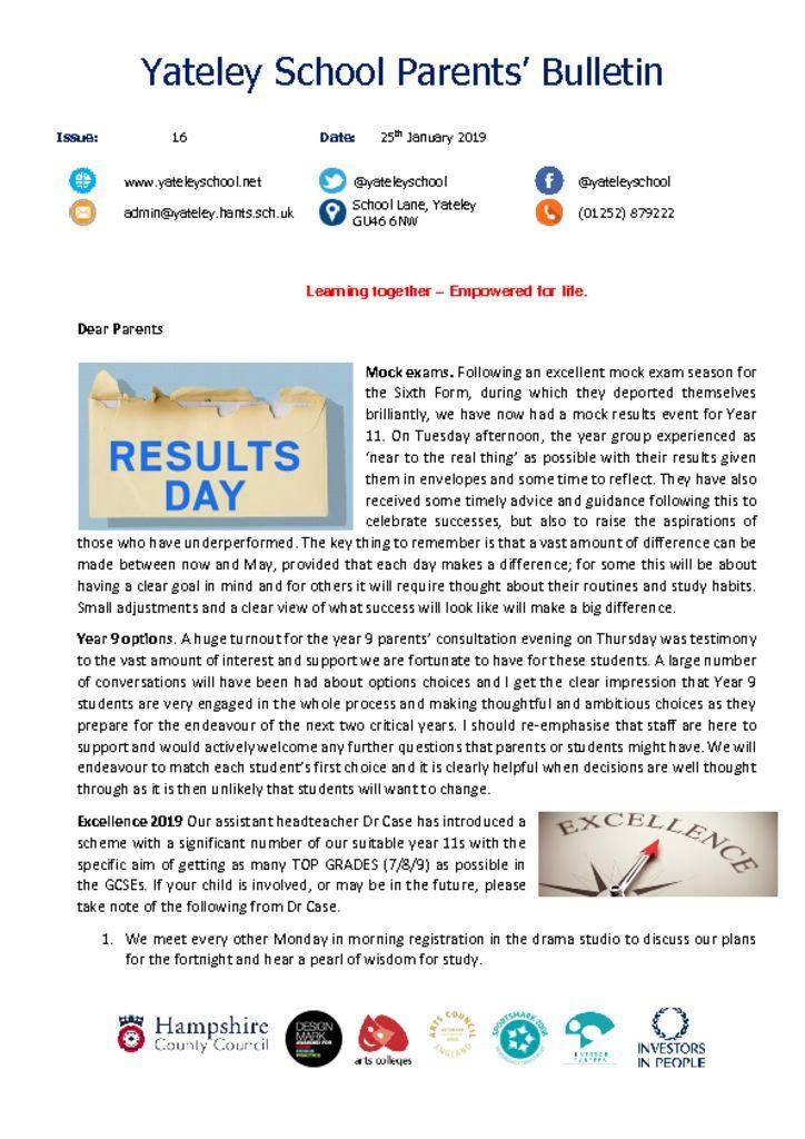 thumbnail of Yateley School Newsletter 16 25-01-19