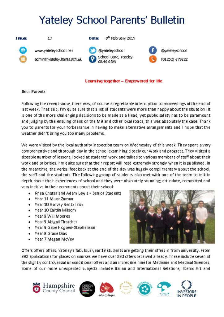 thumbnail of Yateley School Newsletter 17 08-02-19