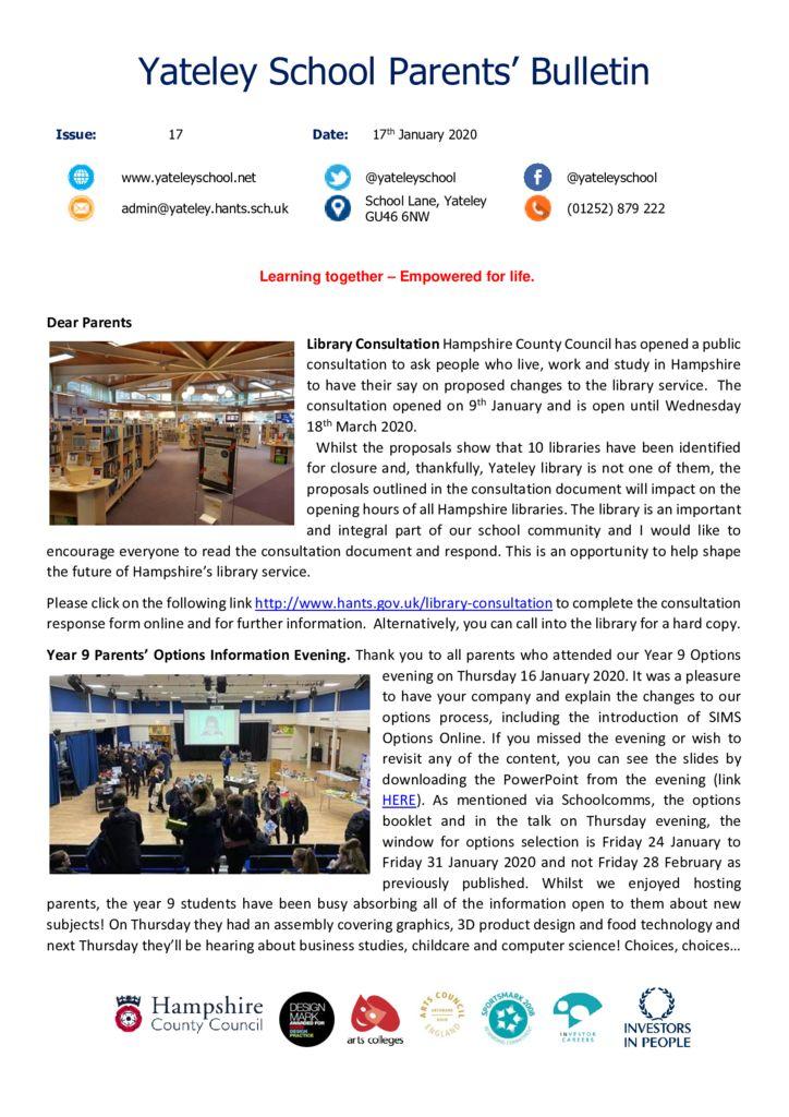 thumbnail of Yateley School Newsletter 17 17-01-20