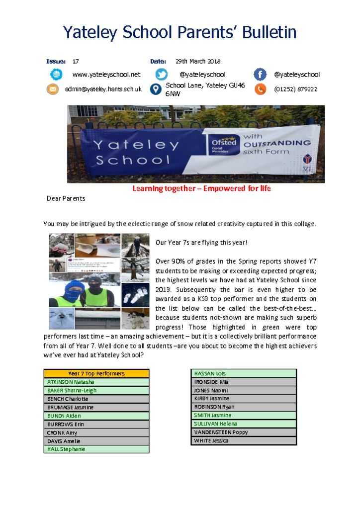 thumbnail of Yateley School Newsletter 17 29-03-18