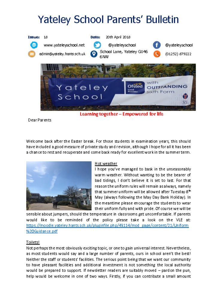 thumbnail of Yateley School Newsletter 18 20-04-18
