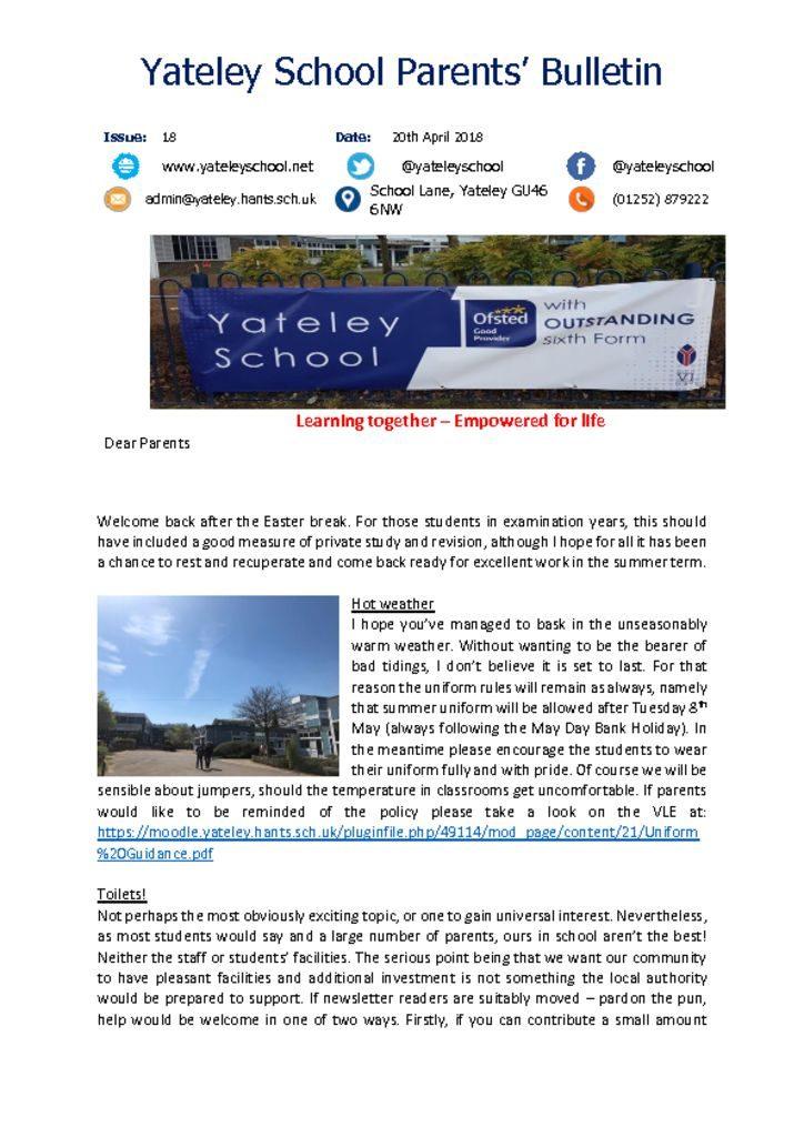 thumbnail of Yateley School Newsletter 18 20-04-18