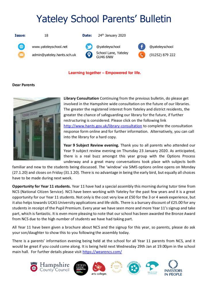 thumbnail of Yateley School Newsletter 18 24-01-20