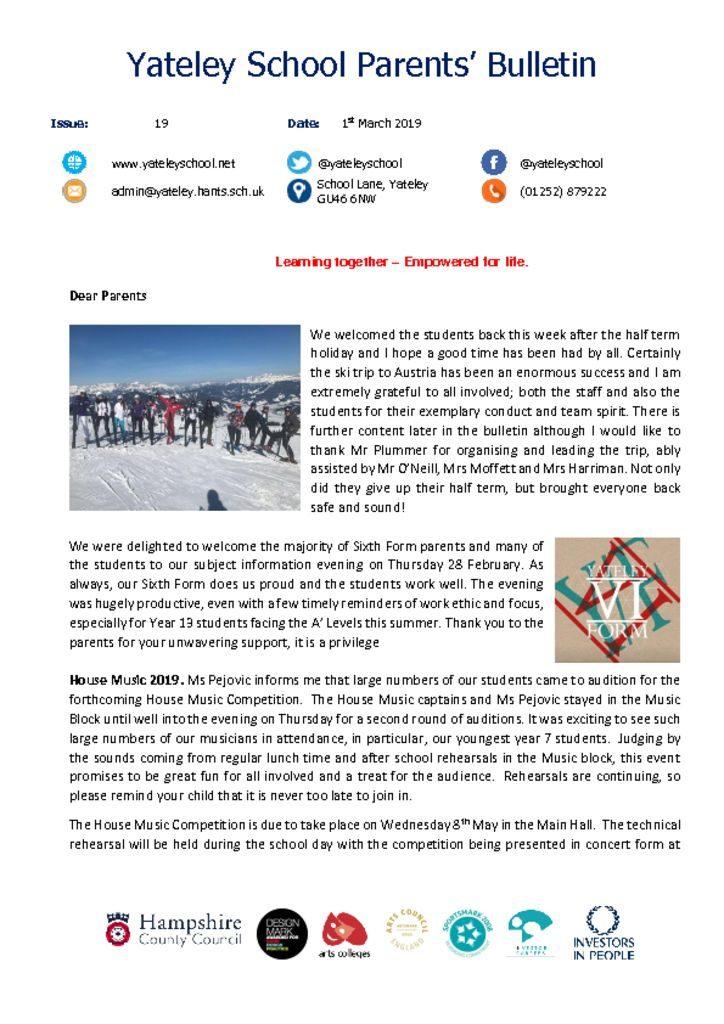 thumbnail of Yateley School Newsletter 19 01-03-19