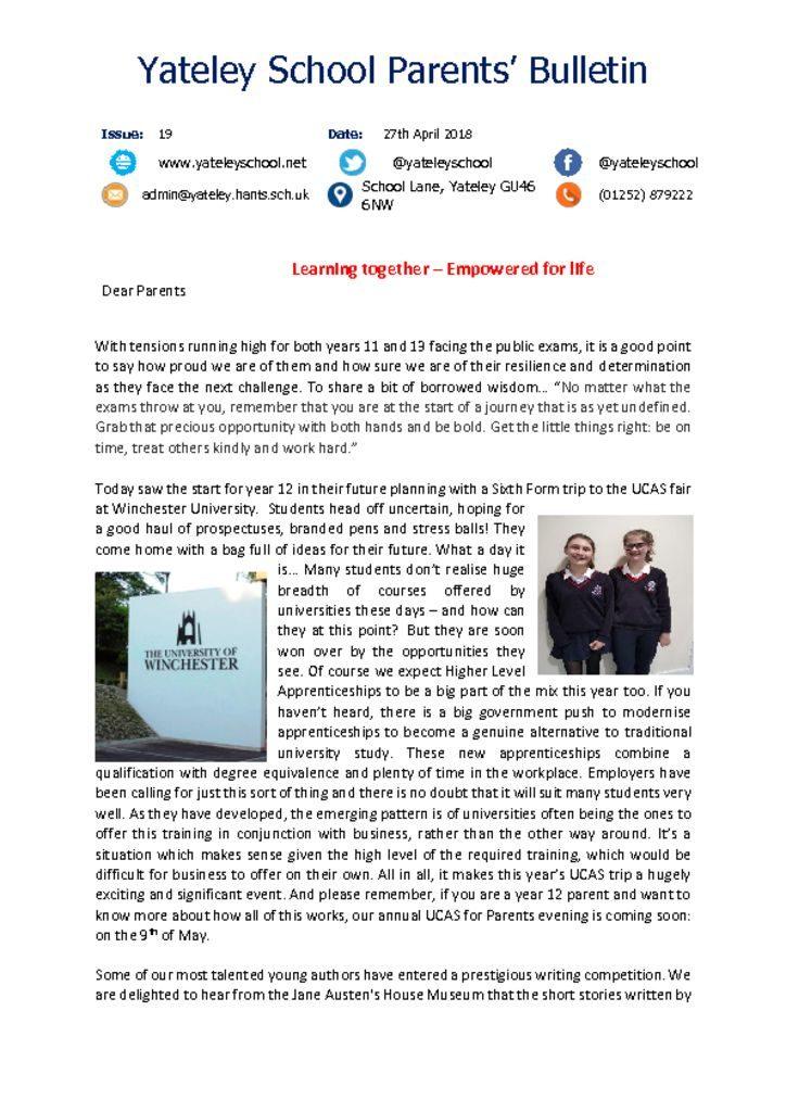 thumbnail of Yateley School Newsletter 19 27-04-18