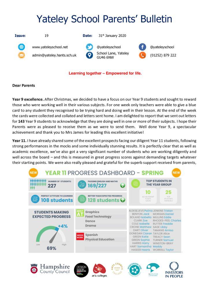 thumbnail of Yateley School Newsletter 19 31-01-20