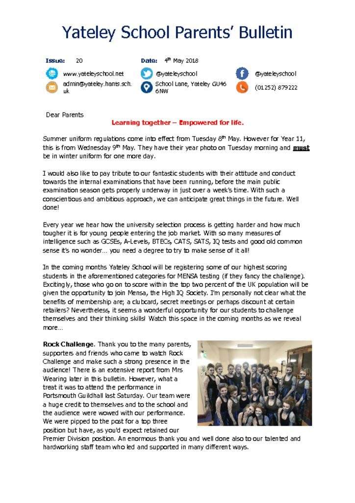 thumbnail of Yateley School Newsletter 20 04-05-18