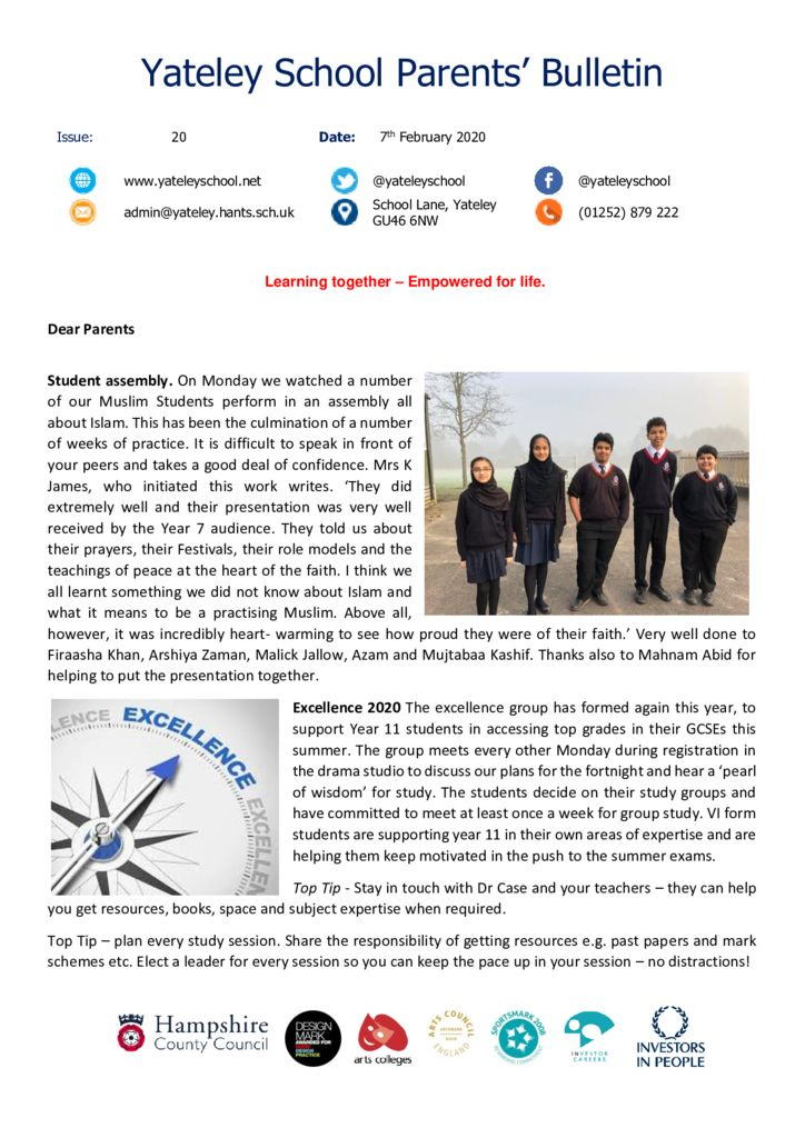 thumbnail of Yateley School Newsletter 20 07-02-20