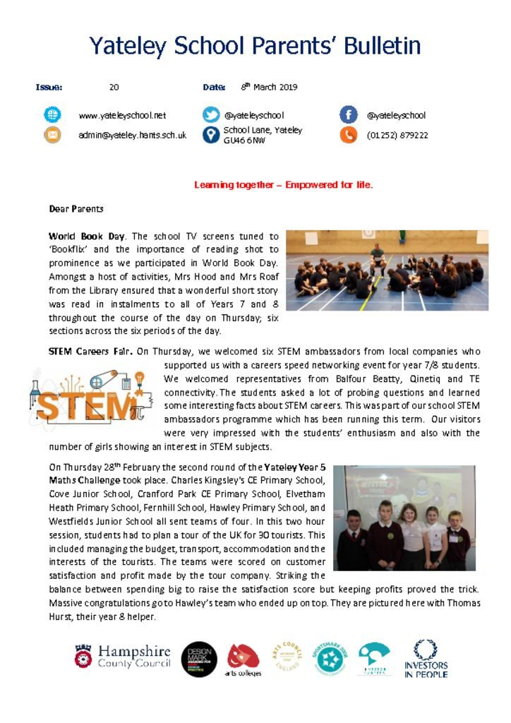 thumbnail of Yateley School Newsletter 20 08-03-19