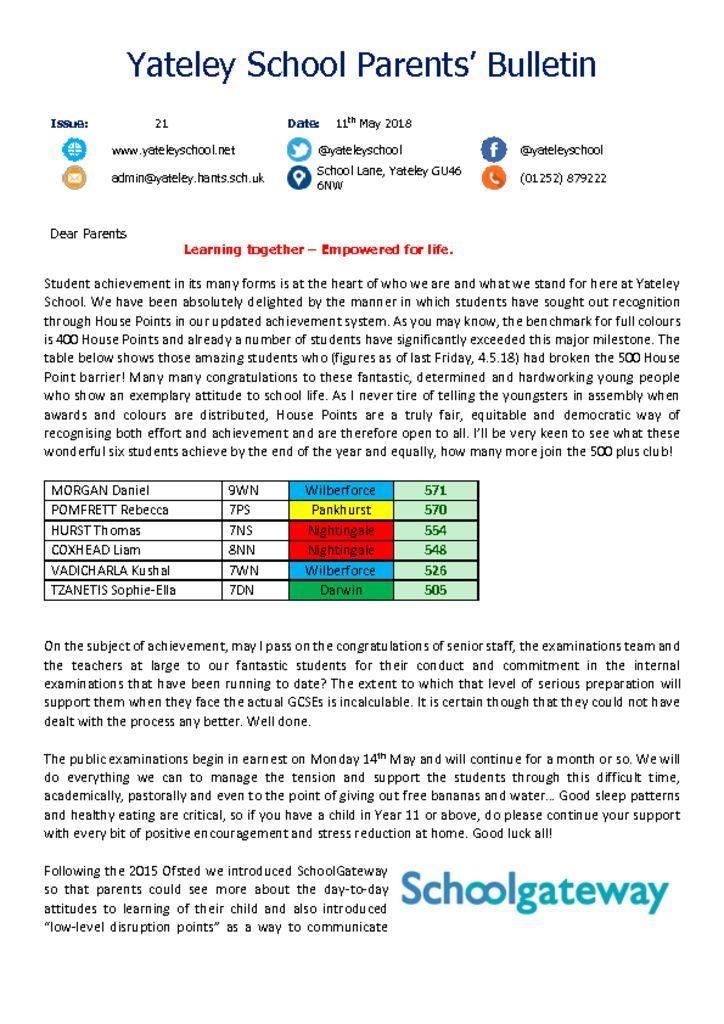 thumbnail of Yateley School Newsletter 21 11-05-18