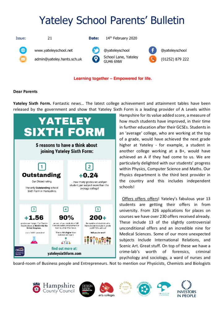 thumbnail of Yateley School Newsletter 21 14-02-20