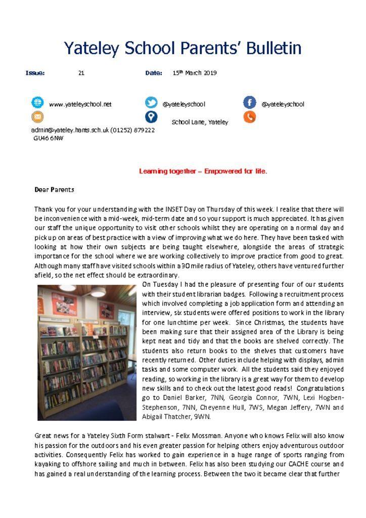 thumbnail of Yateley School Newsletter 21 15-03-19