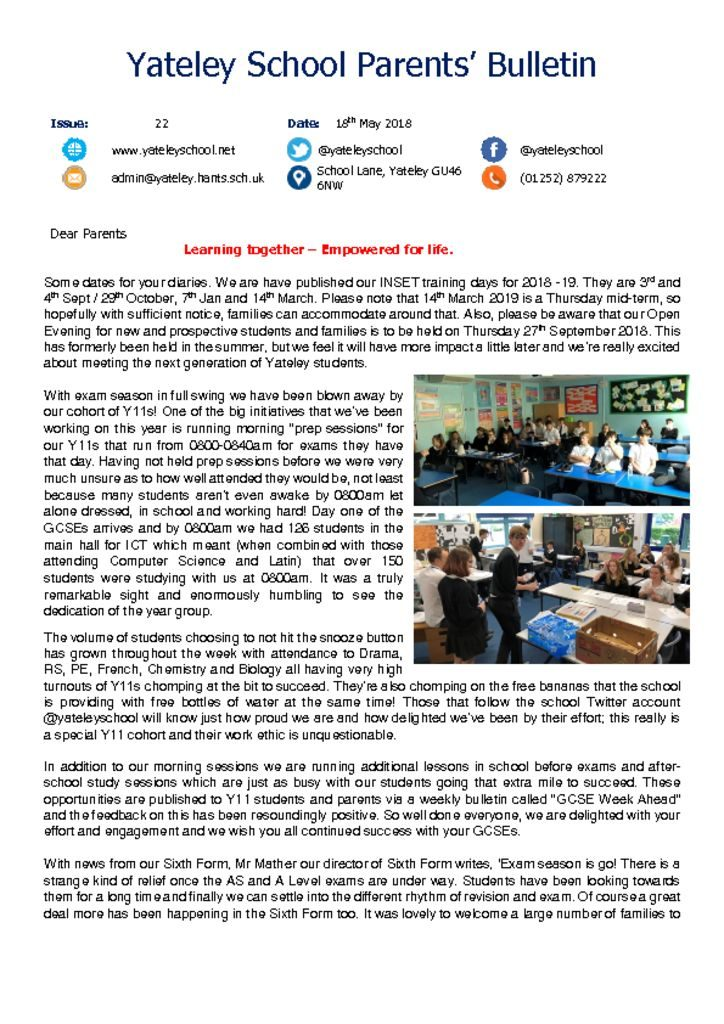 thumbnail of Yateley School Newsletter 22 18-05-18