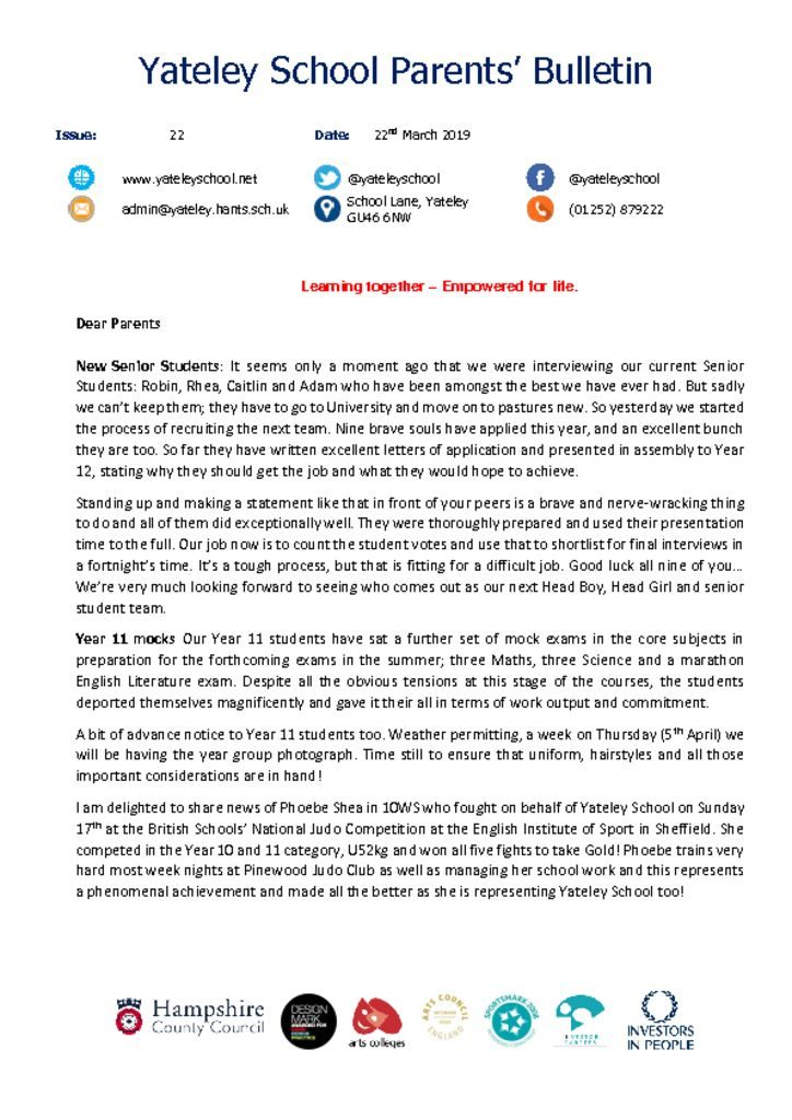 thumbnail of Yateley School Newsletter 22 22-03-19