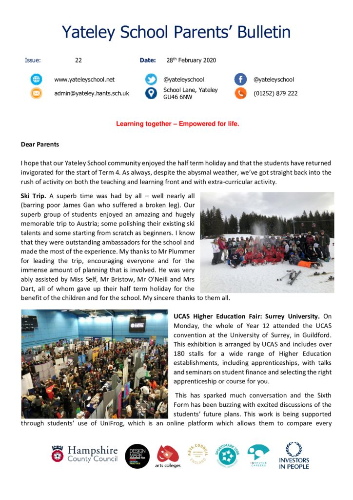 thumbnail of Yateley School Newsletter 22 28-02-20