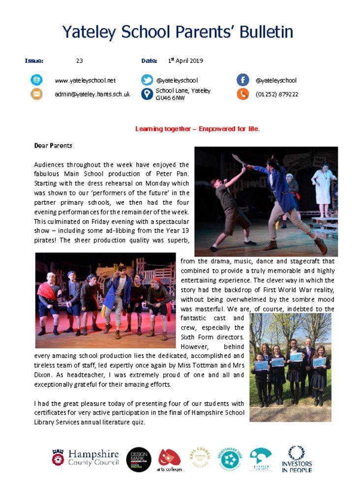thumbnail of Yateley School Newsletter 23 01-04-19