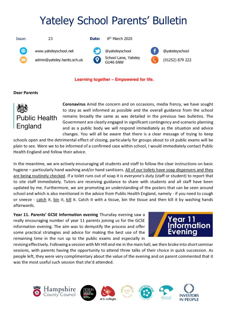 thumbnail of Yateley School Newsletter 23 06-03-20