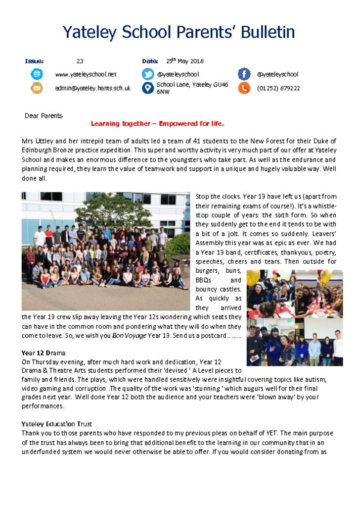 thumbnail of Yateley School Newsletter 23 25-05-18