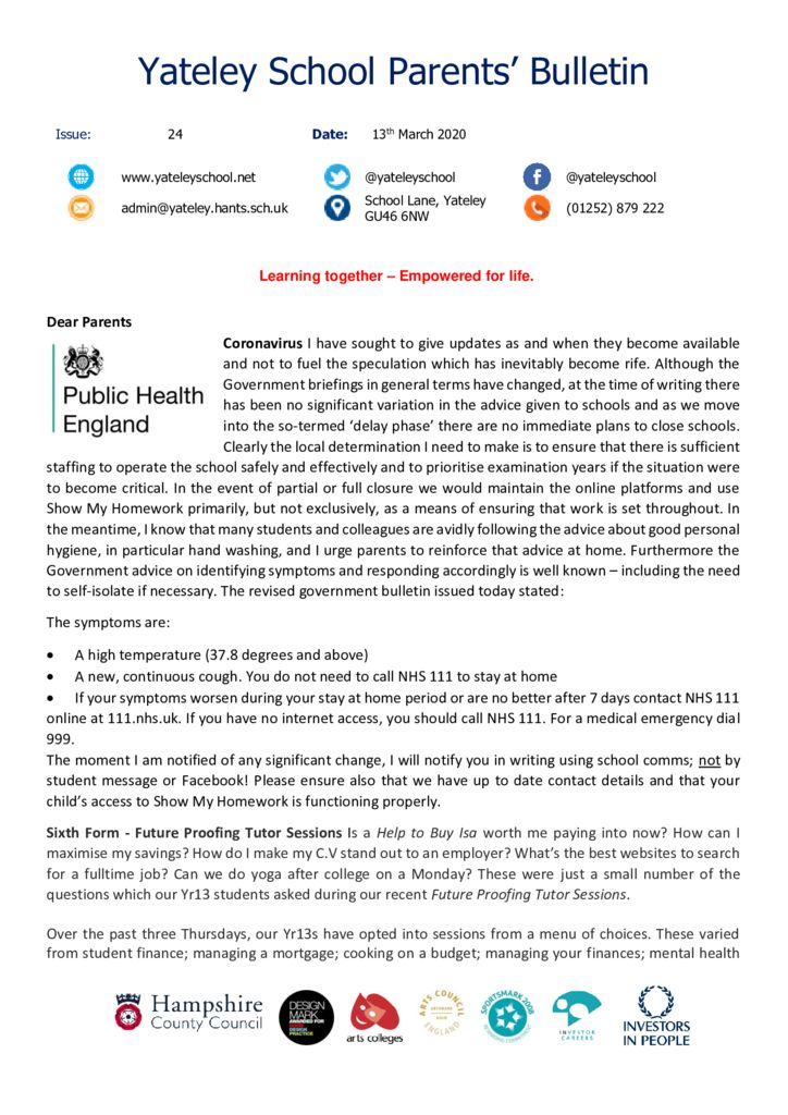 thumbnail of Yateley School Newsletter 24 13-03-20