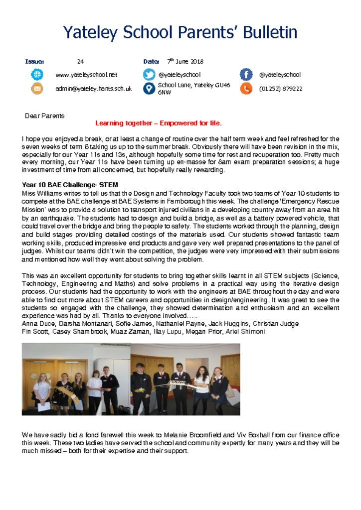 thumbnail of Yateley School Newsletter 25 08-06-18