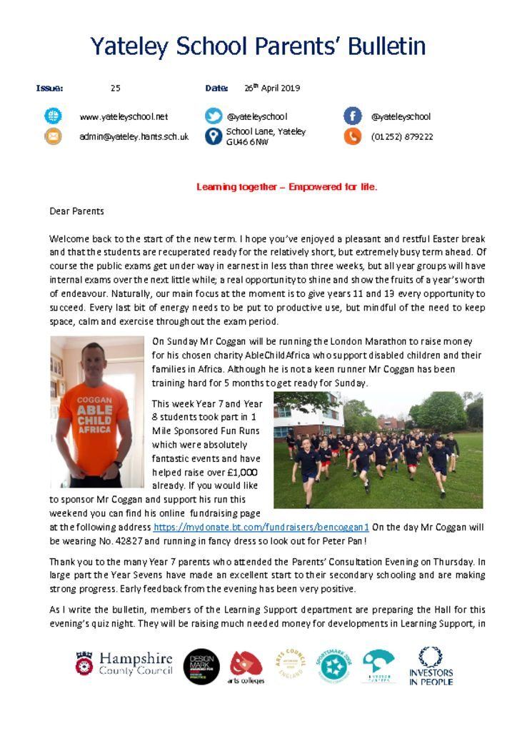 thumbnail of Yateley School Newsletter 25 26-04-19