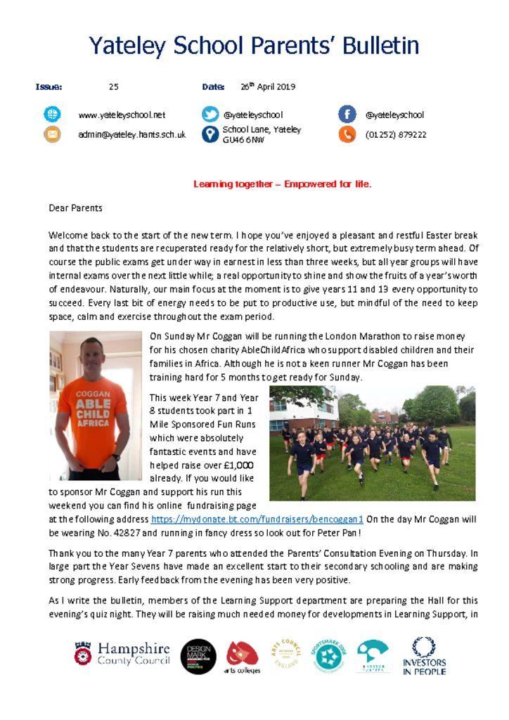 thumbnail of Yateley School Newsletter 25 26-04-19