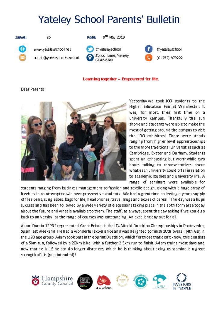 thumbnail of Yateley School Newsletter 26 03-05-19