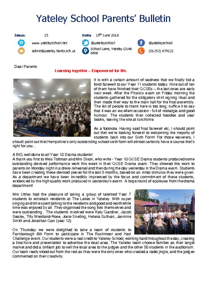 thumbnail of Yateley School Newsletter 26 15-06-18