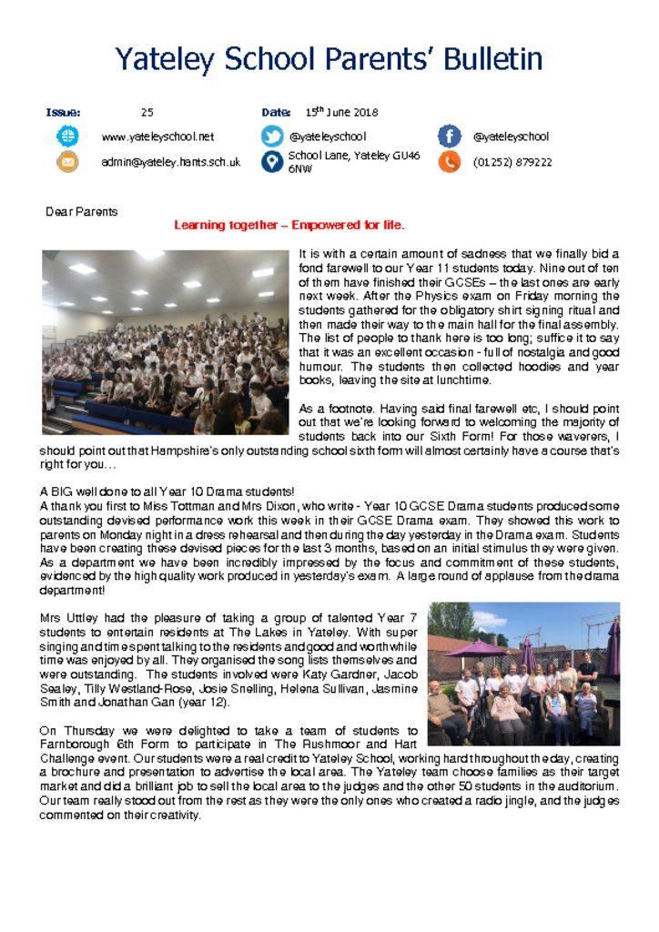 thumbnail of Yateley School Newsletter 26 15-06-18