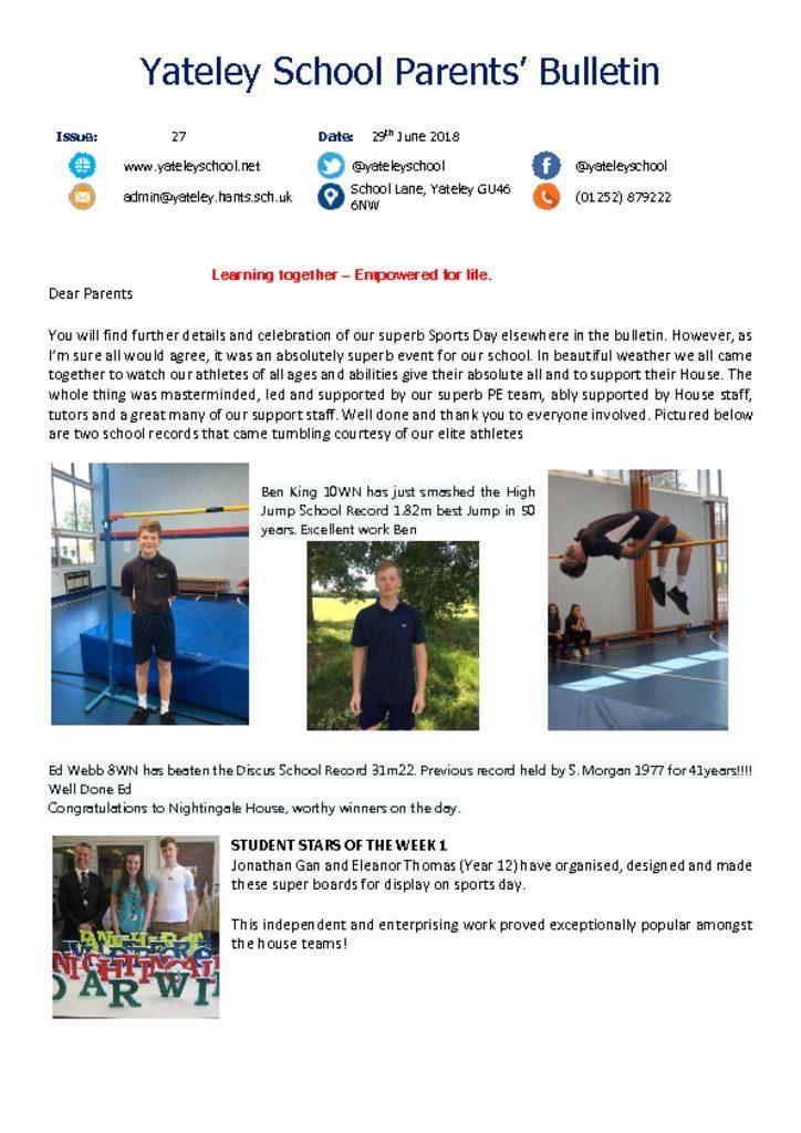 thumbnail of Yateley School Newsletter 27 29-06-18
