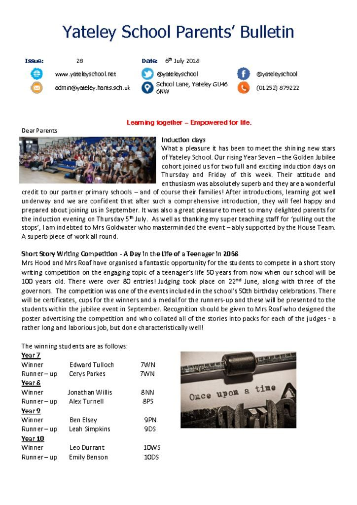 thumbnail of Yateley School Newsletter 28 06-07-18