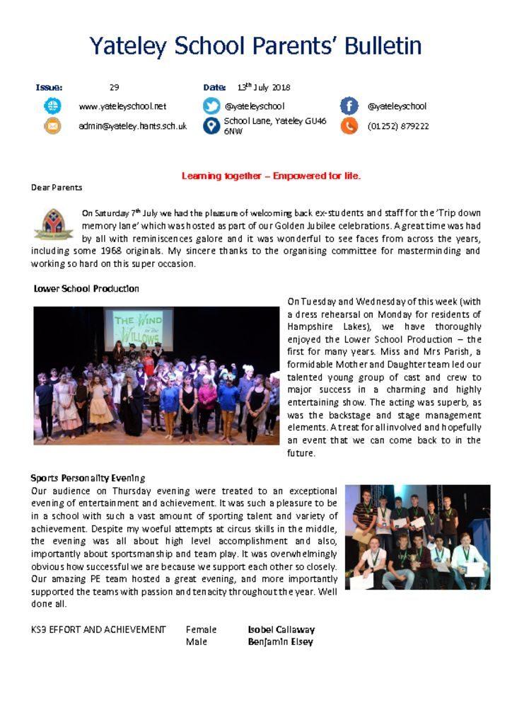 thumbnail of Yateley School Newsletter 29 13-07-18