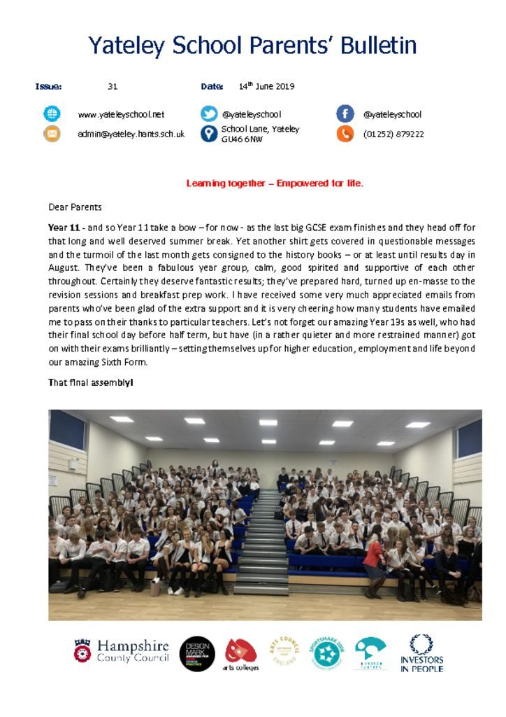 thumbnail of Yateley School Newsletter 31 14-06-19
