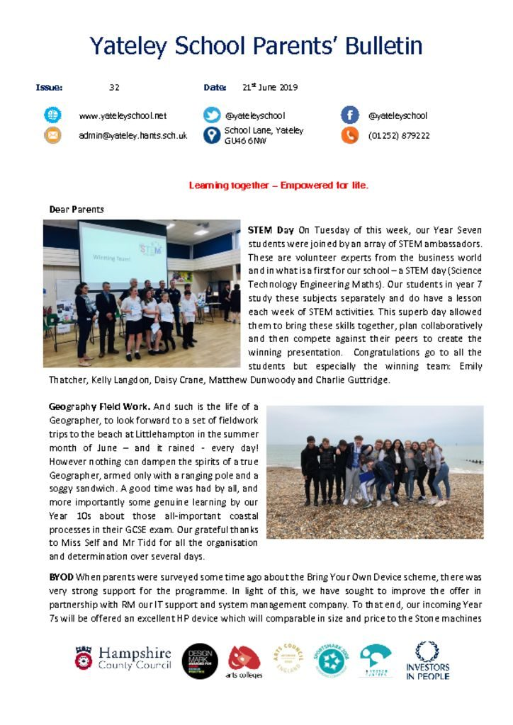 thumbnail of Yateley School Newsletter 32 20-06-19