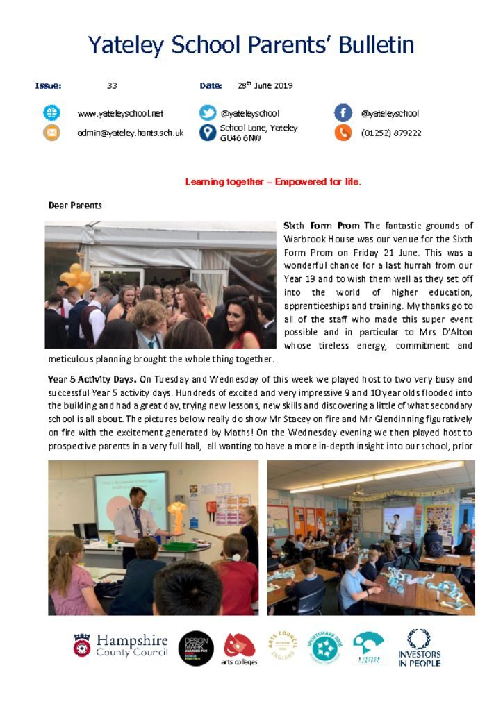 thumbnail of Yateley School Newsletter 33 28-06-19