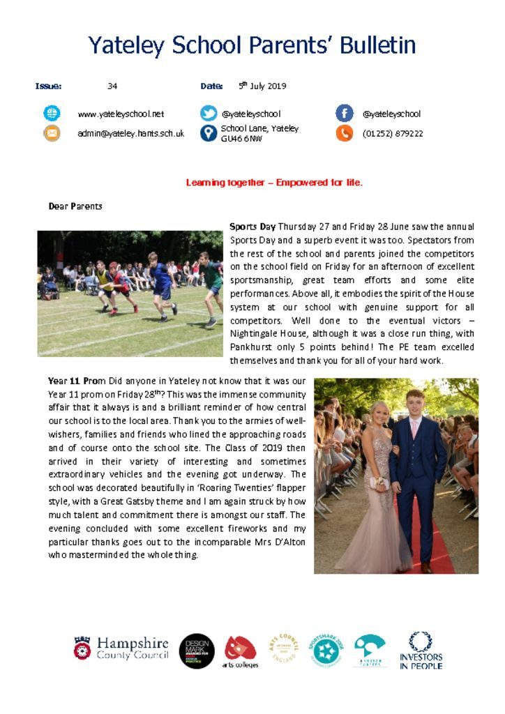 thumbnail of Yateley School Newsletter 34 05-07-19