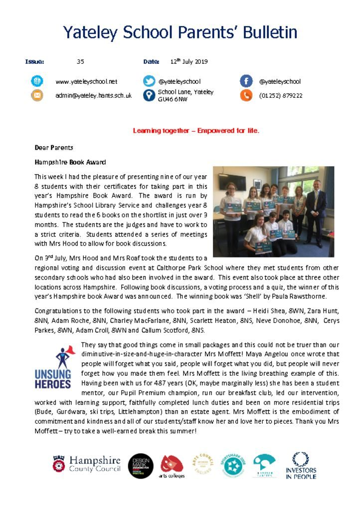 thumbnail of Yateley School Newsletter 35 12-07-19