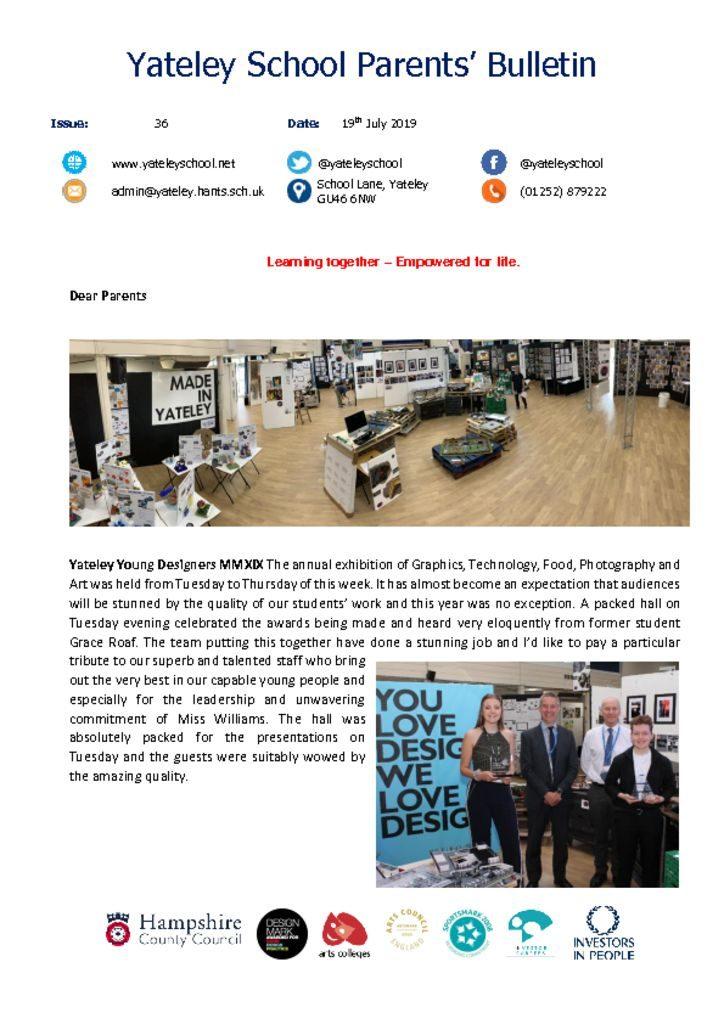 thumbnail of Yateley School Newsletter 36 19-07-19
