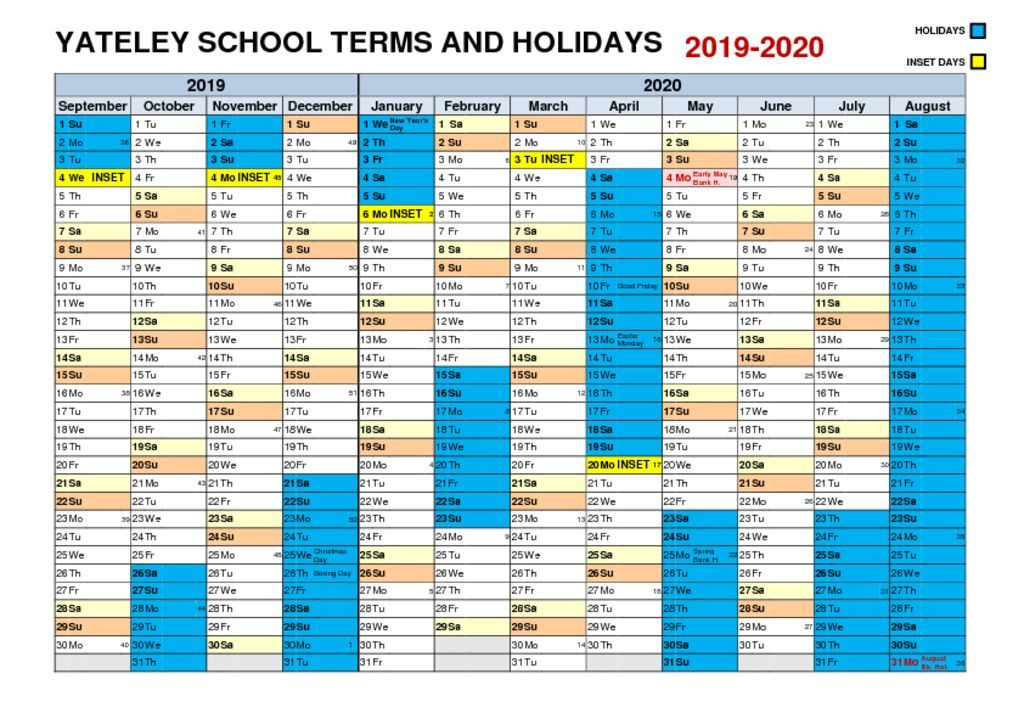 thumbnail of Yateley Term Dates 2019-20